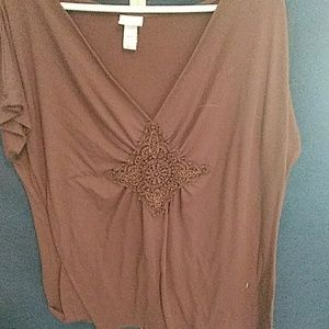 Brown top 18/20 with beautiful design on front